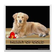 Golden Retriever Tile Coaster Heart of Gold Black