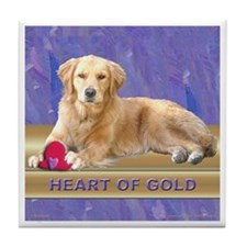 Golden Retriever Tile Coaster Heartof Gold Purple