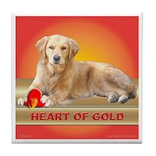 Golden Retriever Tile Coaster Heart of Gold Red