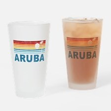 Retro Palm Tree Aruba Pint Glass