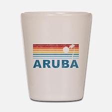 Retro Palm Tree Aruba Shot Glass