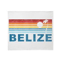 Retro Belize Palm Tree Throw Blanket