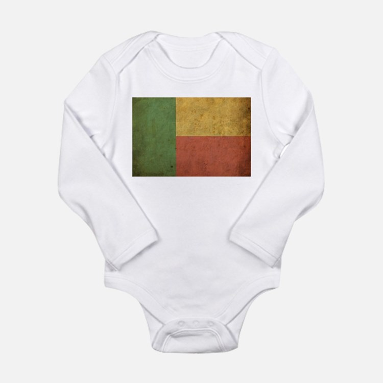 Vintage Benin Flag Long Sleeve Infant Bodysuit