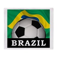 Brazil Football Throw Blanket