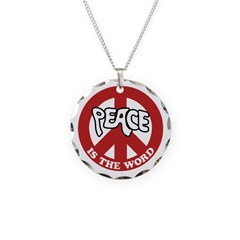 Peace is the word Necklace Circle Charm