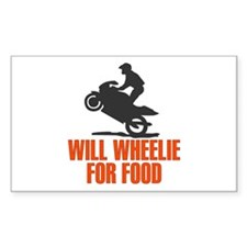 Will Wheelie For Food Rectangle Decal