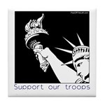 Statue of Liberty /Support Troops Tile Coaster