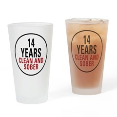 14 Years Clean & Sober Pint Glass