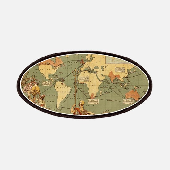 Antique World Map Vintage Earth Patch