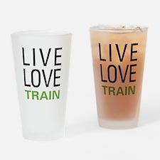 Live Love Train Pint Glass