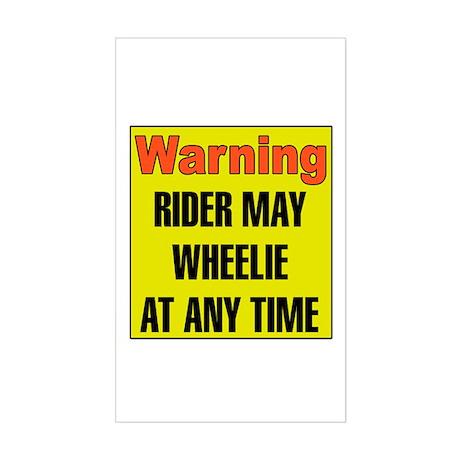 Wheelie Warning Rectangle Sticker