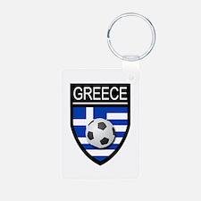 Greece Soccer Patch Keychains