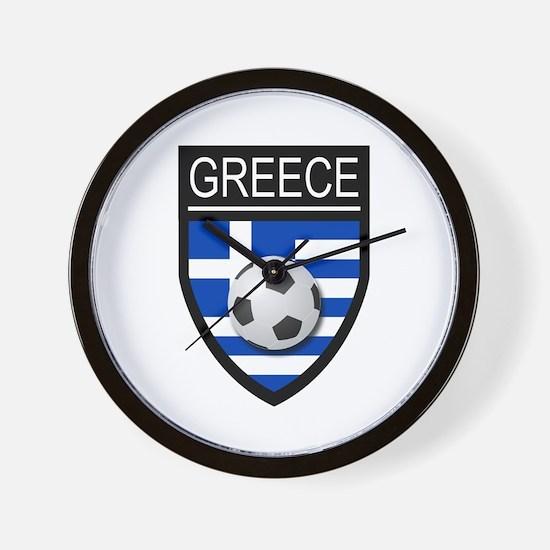 Greece Soccer Patch Wall Clock
