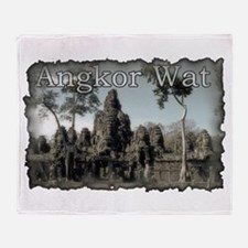 Vintage Angkor Wat Throw Blanket