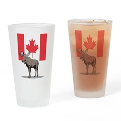 Moose With Canada Flag Pint Glass