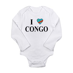 I Love Congo Long Sleeve Infant Bodysuit