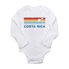 Retro Costa Rica Palm Tree Long Sleeve Infant Body