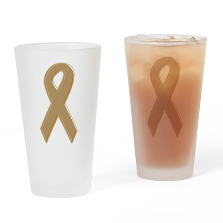 Gold Awareness Ribbon Pint Glass