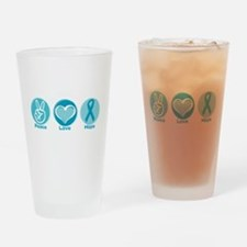 Peace Love Teal Hope Pint Glass