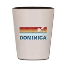 Retro Dominica Palm Tree Shot Glass