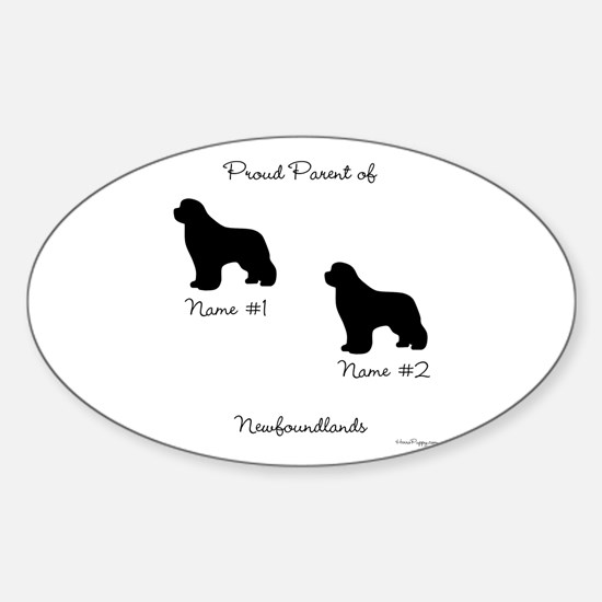 2 Newfoundlands Sticker (Oval)