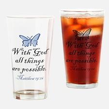 Matthew 19:26 Drinking Glass
