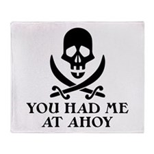 Ahoy Pirate Throw Blanket