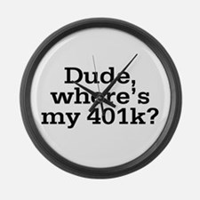 Dude Where's My 401K Large Wall Clock