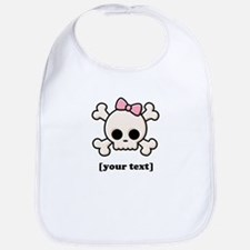 [Your text] Cute Skull Girl Bib