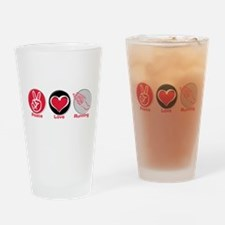 Peace Love Running Pint Glass