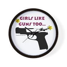 Girls like guns too Wall Clock
