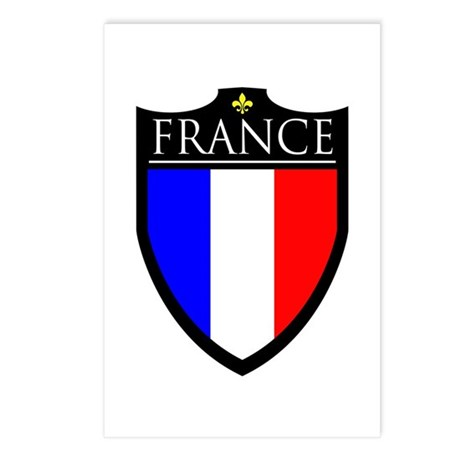 France (2) Flag Patch Postcards (Package of 8)