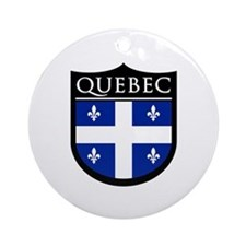 Quebec Flag Patch Ornament (Round)