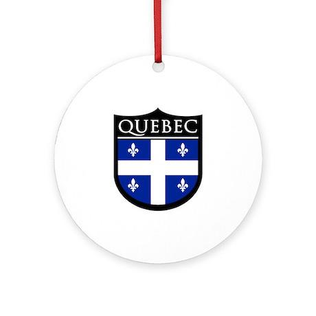Quebec Flag Patch Ornament (Round)