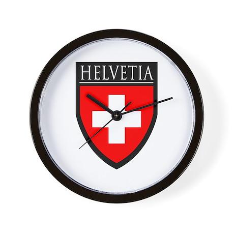 Swiss Helvetia Patch Wall Clock By Spataroarts