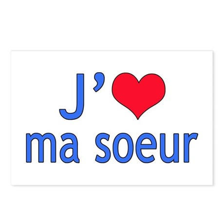 I Love Sister (French) Postcards (Package of 8)