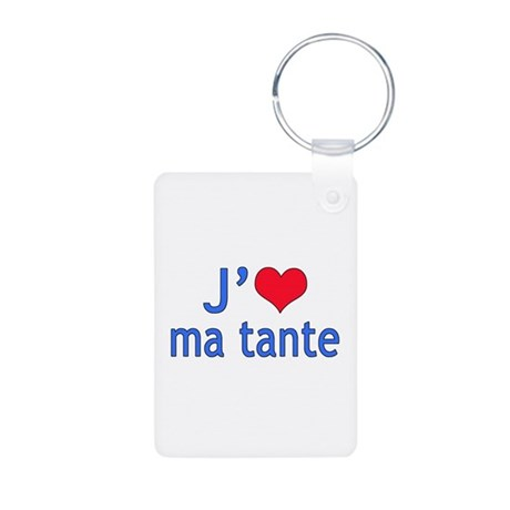 I Love Aunt (French) Aluminum Photo Keychain