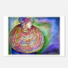 African Lady, Colorful, art, Postcards (Package of