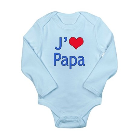 I Love Dad (French) Long Sleeve Infant Bodysuit