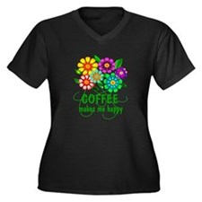 Coffee Happiness Women's Plus Size V-Neck Dark T-S