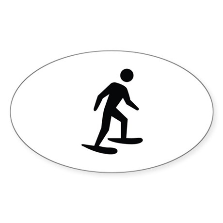 Snow Shoeing Image Sticker (Oval)