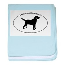 Labrador Oval Text baby blanket