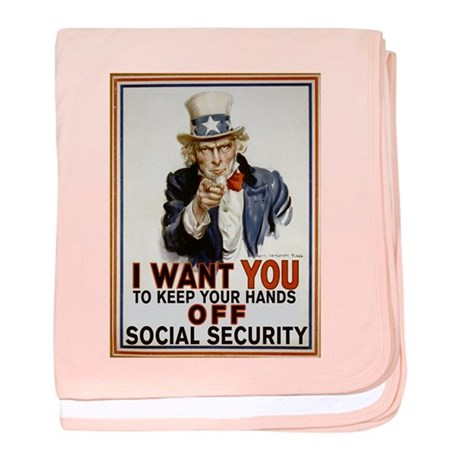 Don't Touch Social Security baby blanket