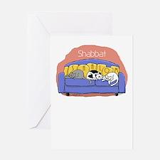 Shabbat Shalom Cat Greeting Card