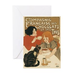 French Chocolate and Tea 1896 Greeting Card