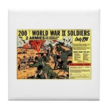 Comic Book Soldiers Tile Coaster