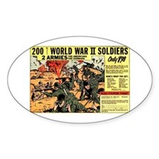 Comic Book Soldiers Oval Decal