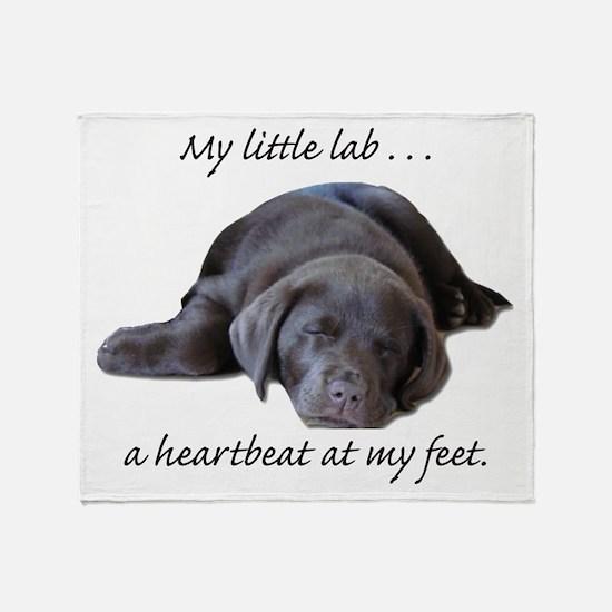 Chocolate Lab Heartbeat Throw Blanket