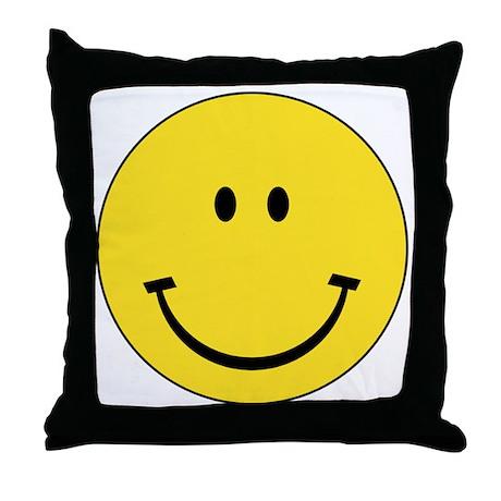 Retro Smiley Face Throw Pillow