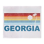 Retro Palm Tree Georgia Throw Blanket